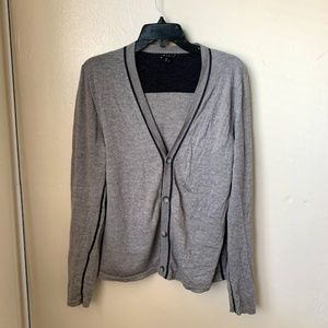 Theory Sweatshirt Gray Merino Wool Long Sleeve